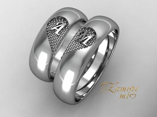 Сребърни халки със сърце и инициали