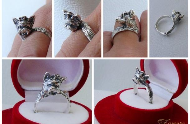 """Сребърен пръстен """"Йоркширски териер"""""""