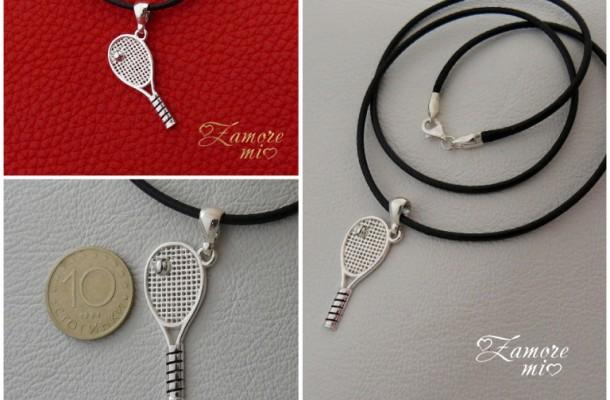 Сребърна висулка – тенис ракета