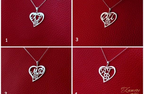 """Сребърни колиета """"Букви с детелинка в сърце – 5"""" (ажурно)"""